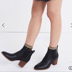 NWT Madewell Regan black leather booties sz 8.5/9